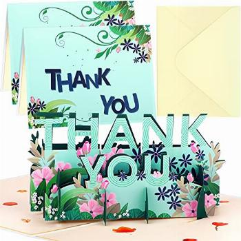 2 Pieces Thank You Pop Up Cards 3D Paper Thank You Greetings