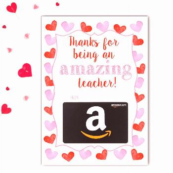 Amazon Teacher Valentine's Gift Card Holder   Rose Paper Press Attach an Amazon gift card to this f