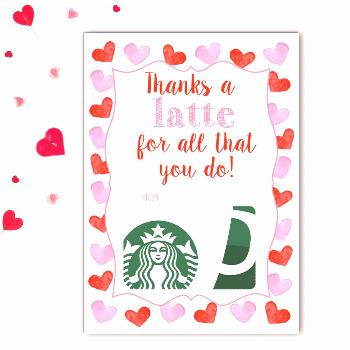 Latte Valentine's Gift Card Holder   Rose Paper Press Attach a coffee gift card to this fun Gift Ca