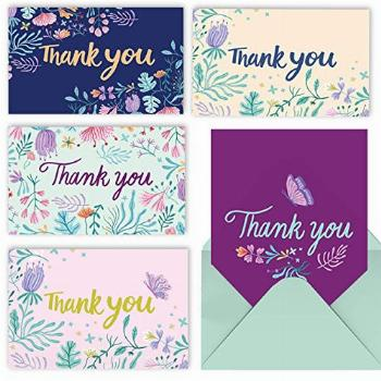 MPFY- Thank You Cards with Envelopes, Pack of 20, 6x4 Inch,
