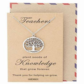 Quan Jewelry Tree of Life Pendant Necklace with Thank You