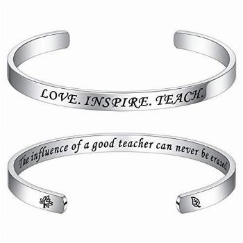 Teacher Gifts End Of Year Bracelets - Engraved Quote Cuff