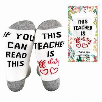 XYSOCKS If You Can Read This Teacher is Off Duty Funky Socks