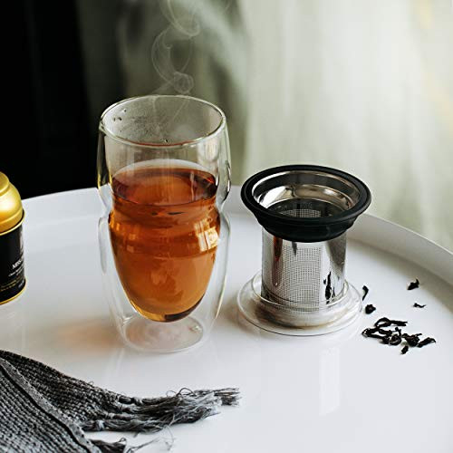 BTAT- Double Wall Glass Tea Cup With Stainless Steel