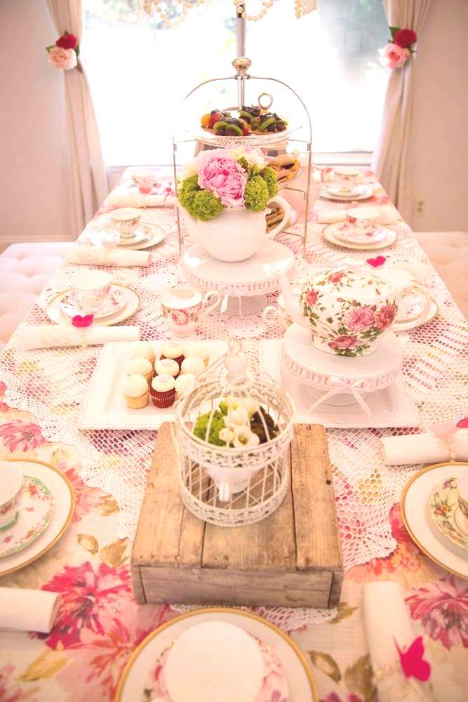 Tea Party Inspiration   Photo by Catch My Party   Bird Cage Decor   Spring Tea Party   Wonder Fores