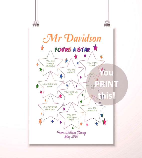 Teacher Appreciation PRINTABLE - Thank you Gift for Teachers, Youre a Star, From Class, From Stude